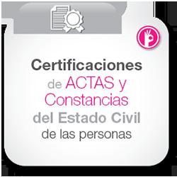 Certificaciones de actas y constancias del estado civil de las personas
